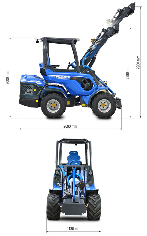 Multione 7.3+ Mini Articulated Loader Lift Height