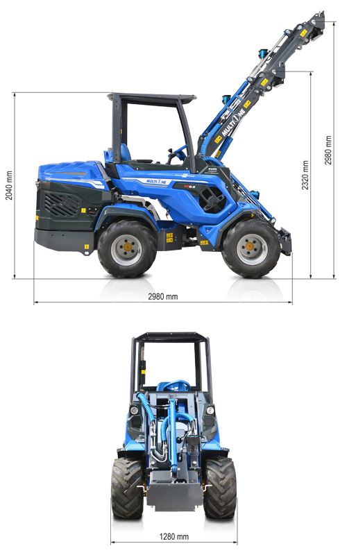 Multione 8.5S Mini Articulated Loader Lift height